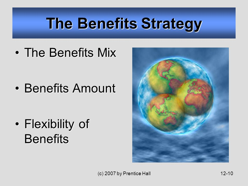 (c) 2007 by Prentice Hall12-10 The Benefits Strategy The Benefits MixThe Benefits Mix Benefits AmountBenefits Amount Flexibility of BenefitsFlexibility of Benefits