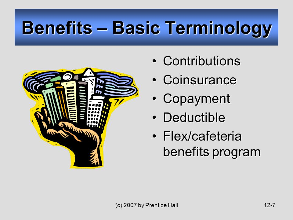 (c) 2007 by Prentice Hall12-7 Benefits – Basic Terminology ContributionsContributions CoinsuranceCoinsurance CopaymentCopayment DeductibleDeductible Flex/cafeteria benefits programFlex/cafeteria benefits program