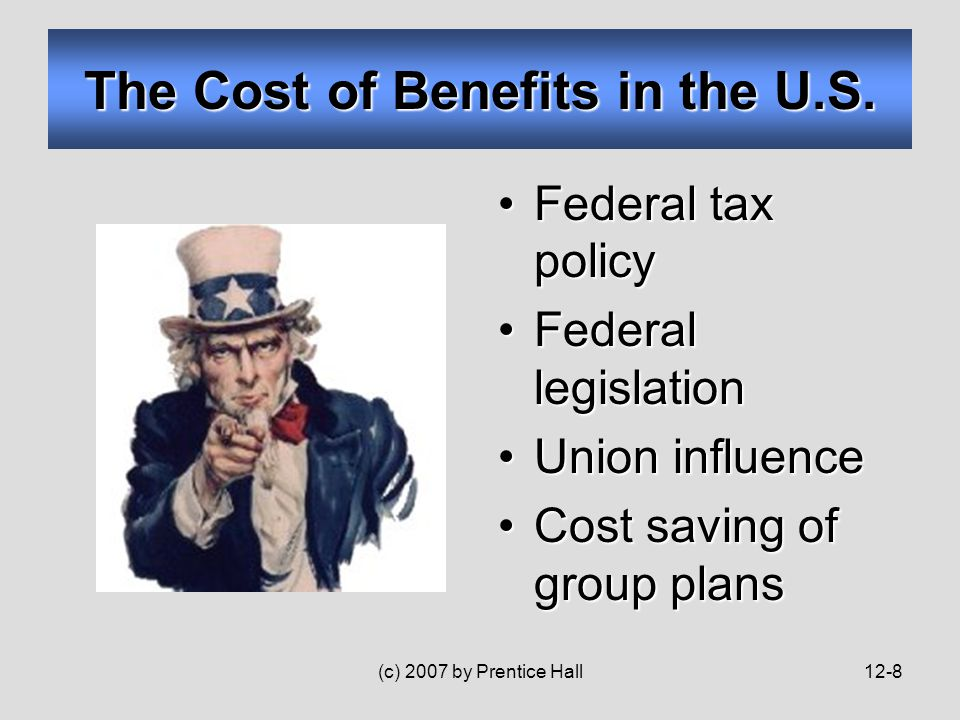 (c) 2007 by Prentice Hall12-8 The Cost of Benefits in the U.S.