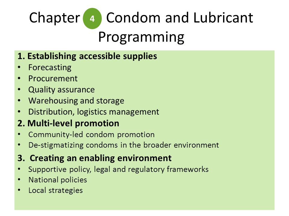 Chapter Condom and Lubricant Programming 4 1.