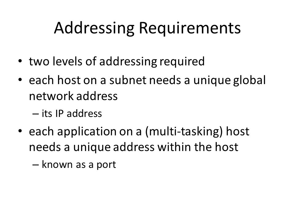 Addressing Requirements two levels of addressing required each host on a subnet needs a unique global network address – its IP address each application on a (multi-tasking) host needs a unique address within the host – known as a port