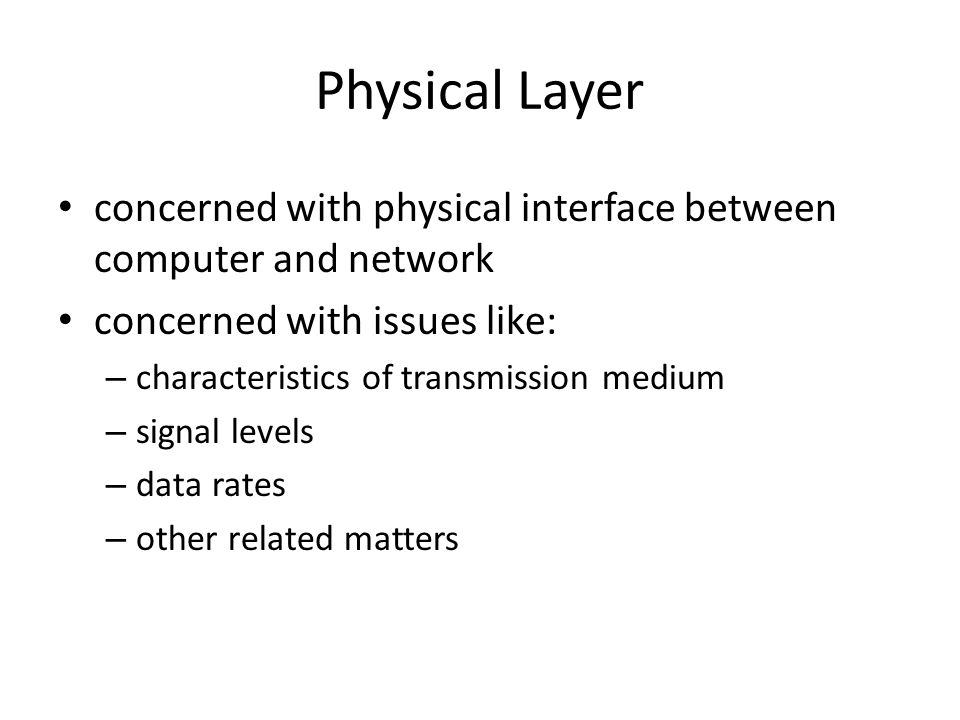 Physical Layer concerned with physical interface between computer and network concerned with issues like: – characteristics of transmission medium – signal levels – data rates – other related matters