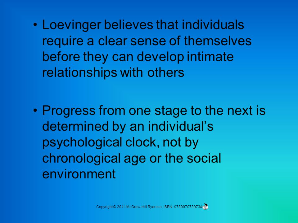 Loevinger believes that individuals require a clear sense of themselves before they can develop intimate relationships with others Progress from one stage to the next is determined by an individual's psychological clock, not by chronological age or the social environment Copyright © 2011 McGraw-Hill Ryerson, ISBN: