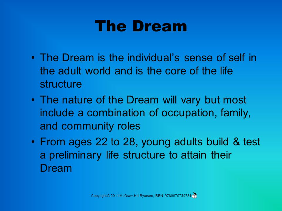 The Dream The Dream is the individual's sense of self in the adult world and is the core of the life structure The nature of the Dream will vary but most include a combination of occupation, family, and community roles From ages 22 to 28, young adults build & test a preliminary life structure to attain their Dream Copyright © 2011 McGraw-Hill Ryerson, ISBN: