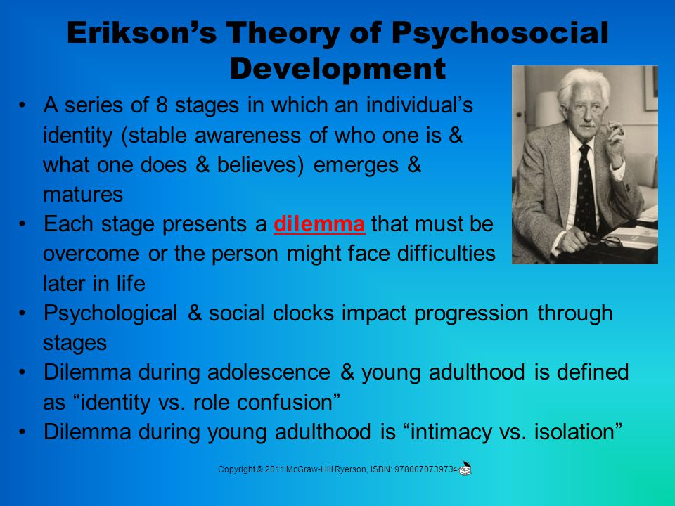 Erikson's Theory of Psychosocial Development A series of 8 stages in which an individual's identity (stable awareness of who one is & what one does & believes) emerges & matures Each stage presents a dilemma that must be overcome or the person might face difficulties later in life Psychological & social clocks impact progression through stages Dilemma during adolescence & young adulthood is defined as identity vs.