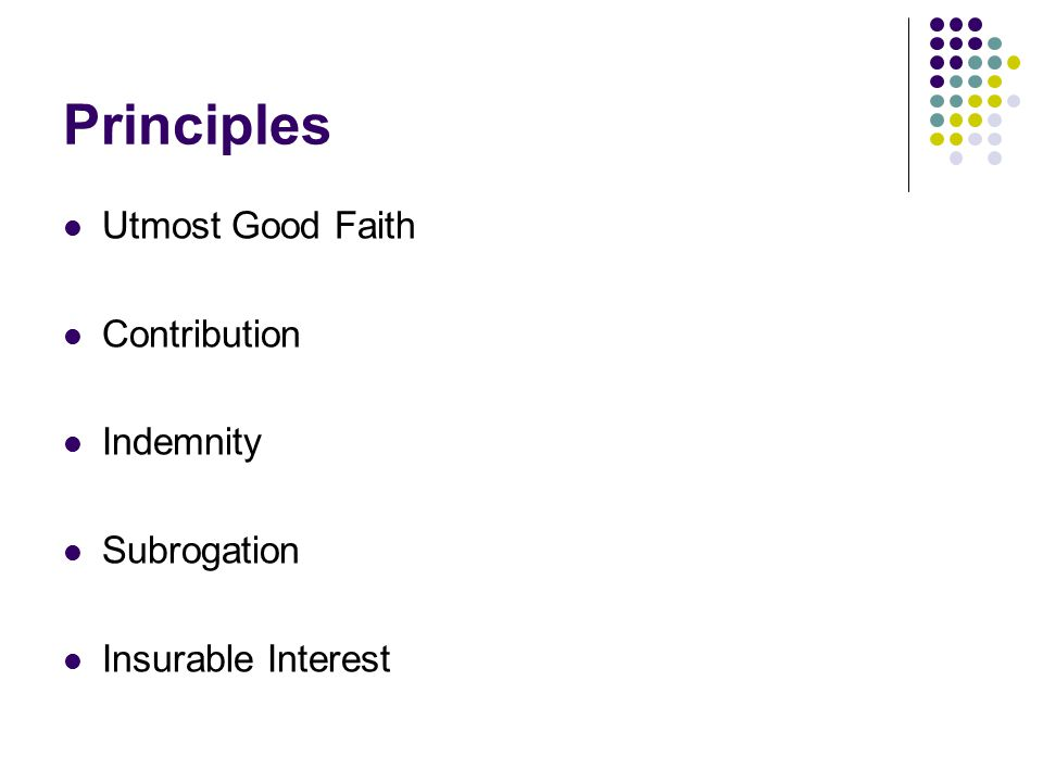 Principles Utmost Good Faith Contribution Indemnity Subrogation Insurable Interest