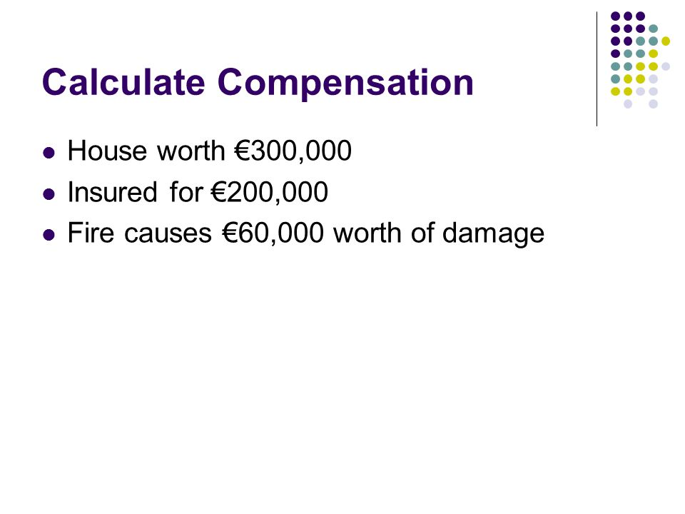 Calculate Compensation House worth €300,000 Insured for €200,000 Fire causes €60,000 worth of damage