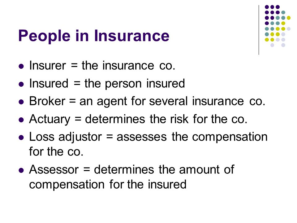 People in Insurance Insurer = the insurance co.
