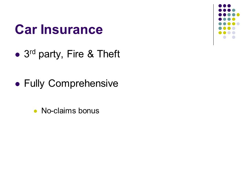Car Insurance 3 rd party, Fire & Theft Fully Comprehensive No-claims bonus