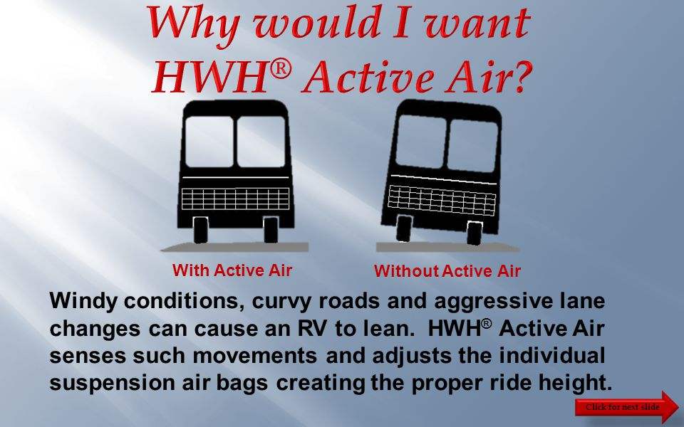 Click for next slide  HWH ® Active Air, is a four-point