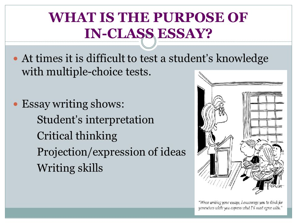 WHAT IS THE PURPOSE OF IN-CLASS ESSAY.
