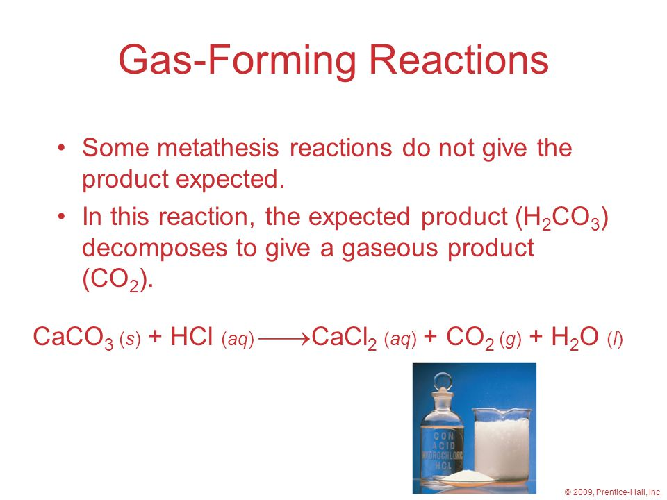 Gas-Forming Reactions Some metathesis reactions do not give the product expected.