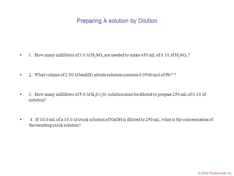 Preparing A solution by Dilution 1.