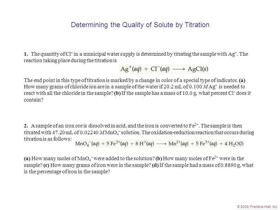 Determining the Quality of Solute by Titration 1.