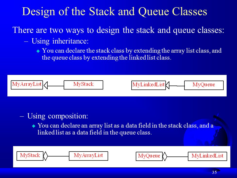35 Design of the Stack and Queue Classes There are two ways to design the stack and queue classes: –Using inheritance: u You can declare the stack class by extending the array list class, and the queue class by extending the linked list class.