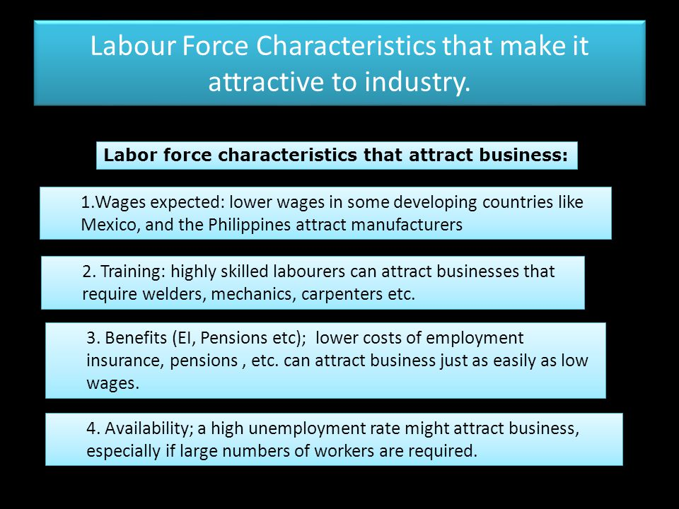 Labour Force Characteristics that make it attractive to industry.