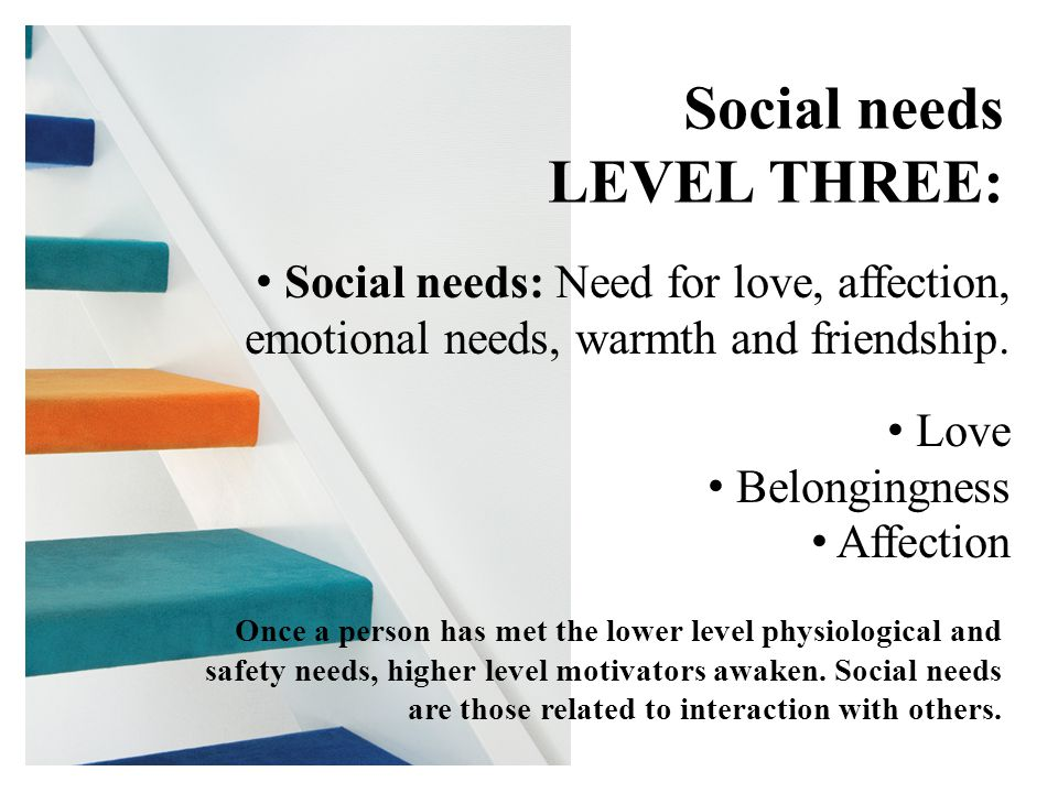 Social needs LEVEL THREE: Social needs: Need for love, affection, emotional needs, warmth and friendship.
