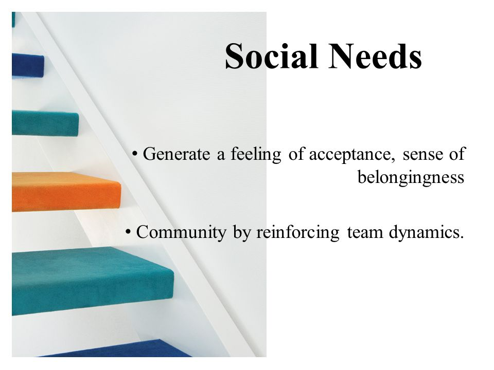 Generate a feeling of acceptance, sense of belongingness Community by reinforcing team dynamics.