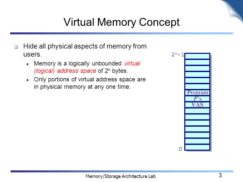 3 Memory/Storage Architecture Lab 3 Virtual Memory Concept  Hide all physical aspects of memory from users.