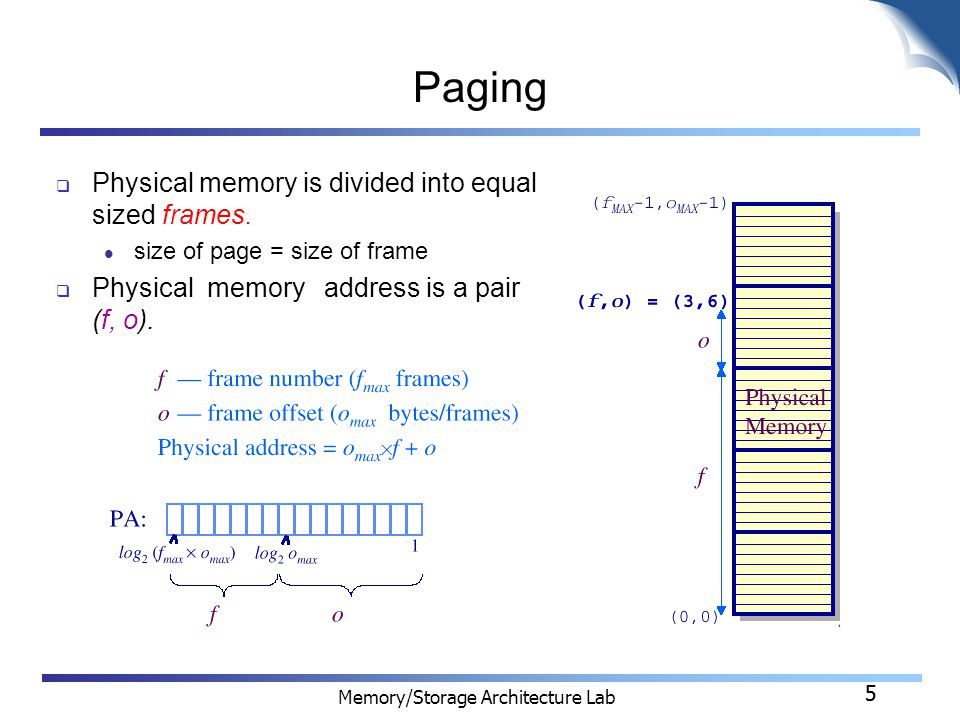 5 Memory/Storage Architecture Lab 5 Paging  Physical memory is divided into equal sized frames.
