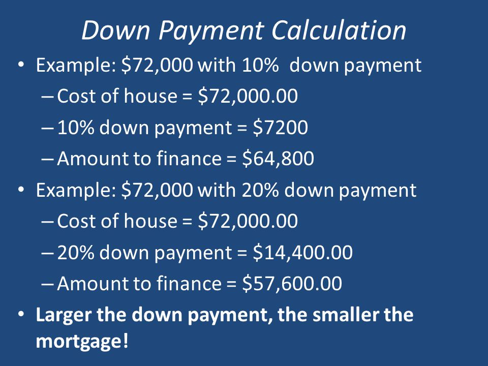 Down Payment Calculation Example: $72,000 with 10% down payment – Cost of house = $72, – 10% down payment = $7200 – Amount to finance = $64,800 Example: $72,000 with 20% down payment – Cost of house = $72, – 20% down payment = $14, – Amount to finance = $57, Larger the down payment, the smaller the mortgage!