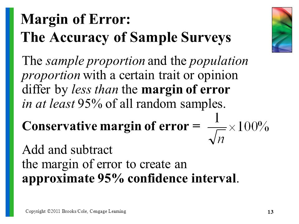 Copyright ©2011 Brooks/Cole, Cengage Learning 13 Margin of Error: The Accuracy of Sample Surveys The sample proportion and the population proportion with a certain trait or opinion differ by less than the margin of error in at least 95% of all random samples.