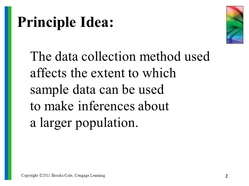 Copyright ©2011 Brooks/Cole, Cengage Learning 2 Principle Idea: The data collection method used affects the extent to which sample data can be used to make inferences about a larger population.