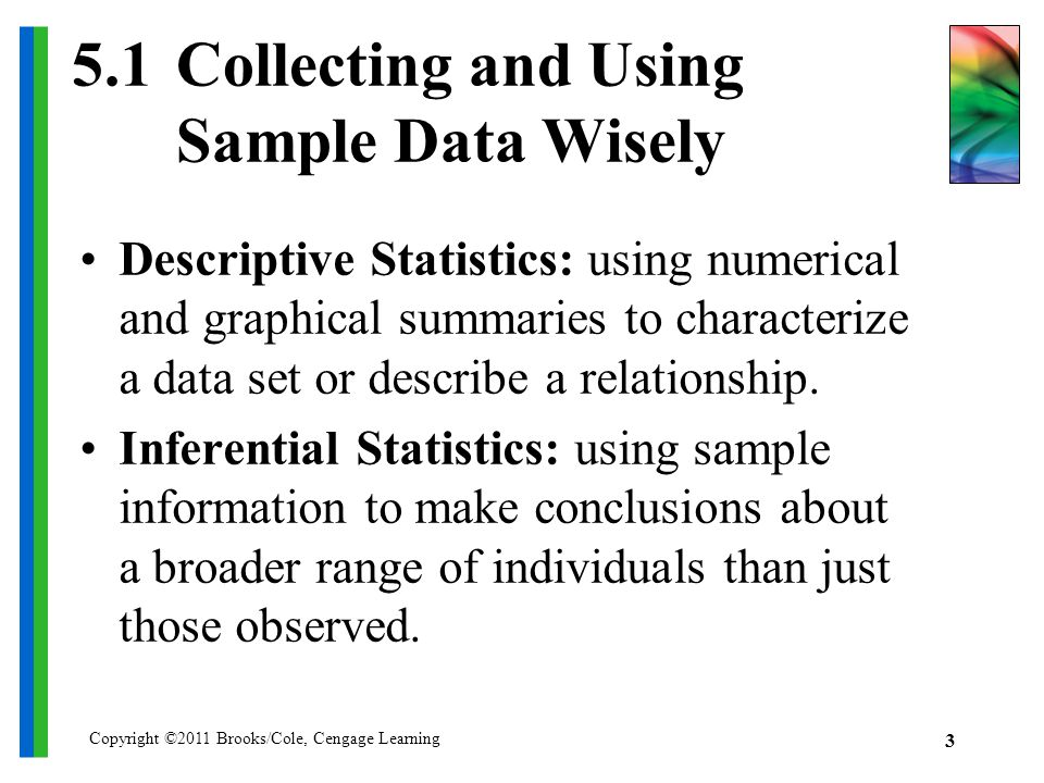 Copyright ©2011 Brooks/Cole, Cengage Learning 3 5.1Collecting and Using Sample Data Wisely Descriptive Statistics: using numerical and graphical summaries to characterize a data set or describe a relationship.