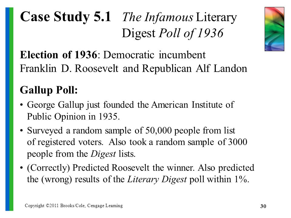 Copyright ©2011 Brooks/Cole, Cengage Learning 30 Case Study 5.1 The Infamous Literary Digest Poll of 1936 Election of 1936: Democratic incumbent Franklin D.