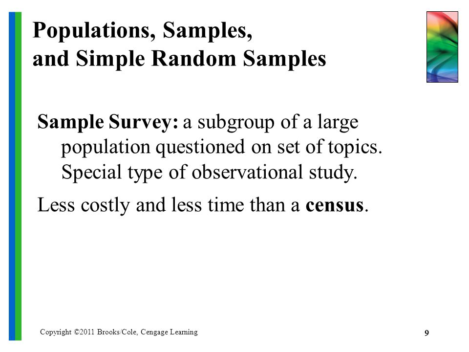 Copyright ©2011 Brooks/Cole, Cengage Learning 9 Populations, Samples, and Simple Random Samples Sample Survey: a subgroup of a large population questioned on set of topics.
