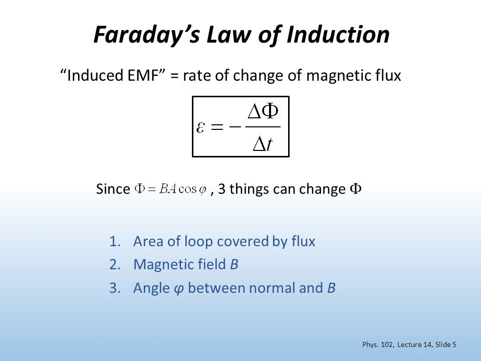Faraday's Law of Induction Induced EMF = rate of change of magnetic flux 1.Area of loop covered by flux 2.Magnetic field B 3.Angle φ between normal and B Since, 3 things can change  Phys.