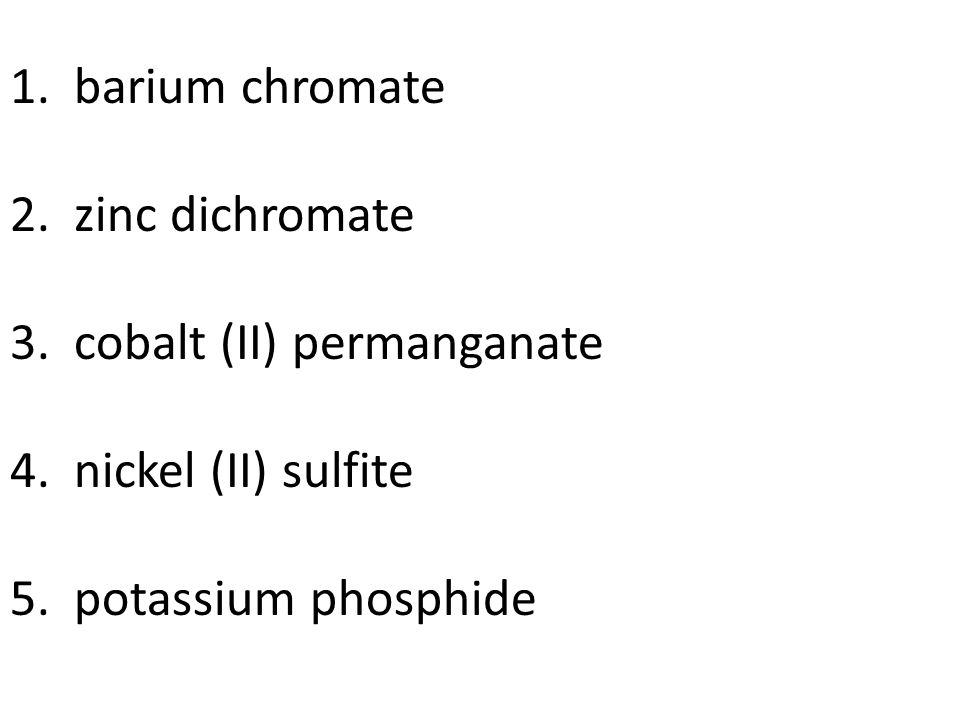 Regents Prep A Naming compounds Practice - Write these names