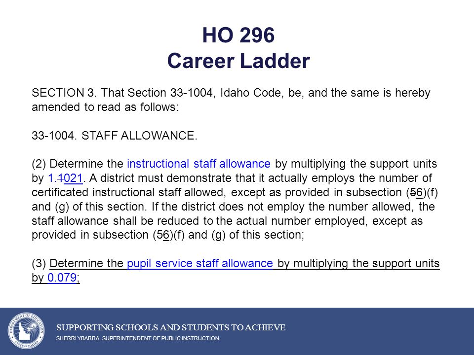 HO 296 Career Ladder SHERRI YBARRA, SUPERINTENDENT OF PUBLIC INSTRUCTION SUPPORTING SCHOOLS AND STUDENTS TO ACHIEVE SECTION 3.