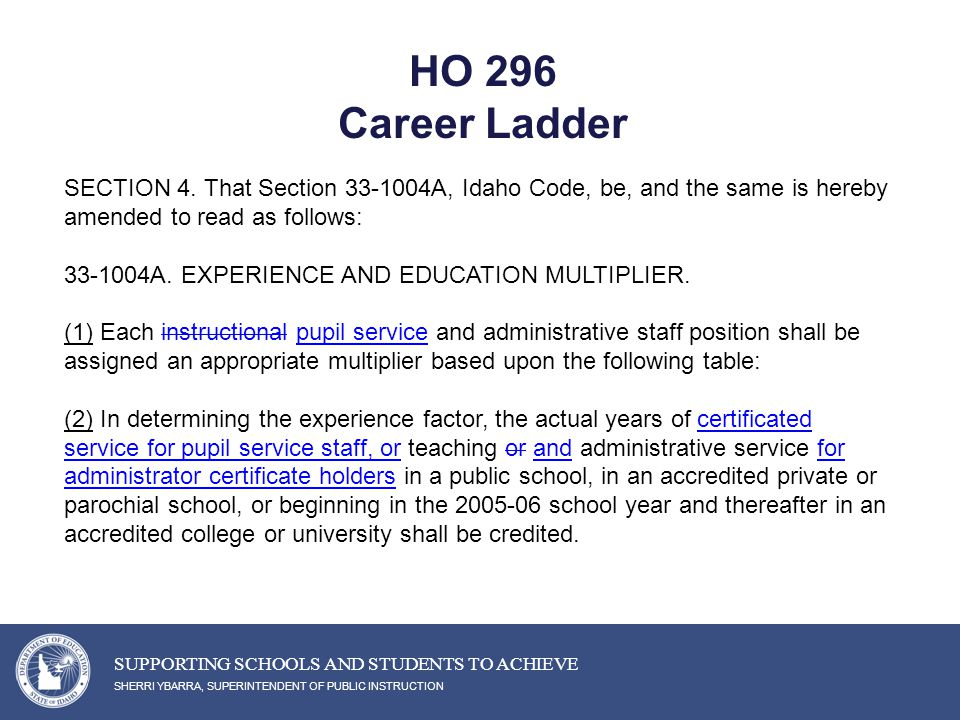 HO 296 Career Ladder SHERRI YBARRA, SUPERINTENDENT OF PUBLIC INSTRUCTION SUPPORTING SCHOOLS AND STUDENTS TO ACHIEVE SECTION 4.