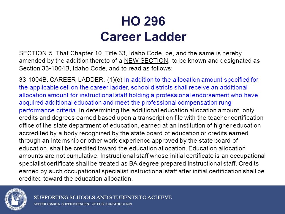 HO 296 Career Ladder SHERRI YBARRA, SUPERINTENDENT OF PUBLIC INSTRUCTION SUPPORTING SCHOOLS AND STUDENTS TO ACHIEVE SECTION 5.