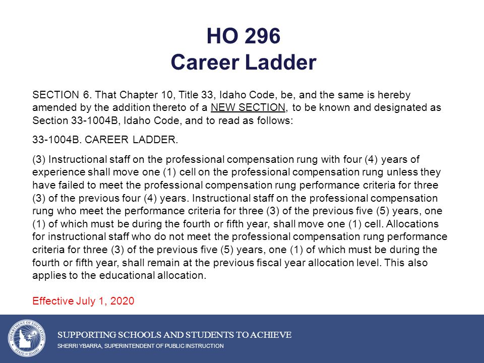 HO 296 Career Ladder SHERRI YBARRA, SUPERINTENDENT OF PUBLIC INSTRUCTION SUPPORTING SCHOOLS AND STUDENTS TO ACHIEVE SECTION 6.