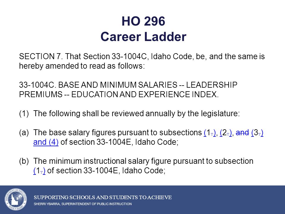 HO 296 Career Ladder SHERRI YBARRA, SUPERINTENDENT OF PUBLIC INSTRUCTION SUPPORTING SCHOOLS AND STUDENTS TO ACHIEVE SECTION 7.