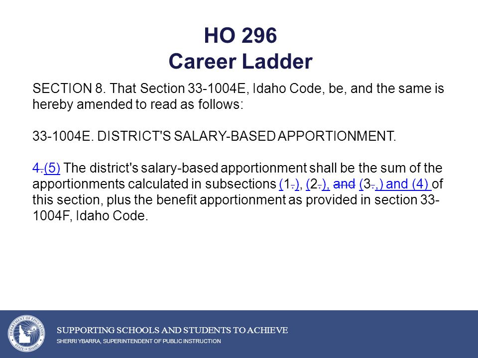 HO 296 Career Ladder SHERRI YBARRA, SUPERINTENDENT OF PUBLIC INSTRUCTION SUPPORTING SCHOOLS AND STUDENTS TO ACHIEVE SECTION 8.