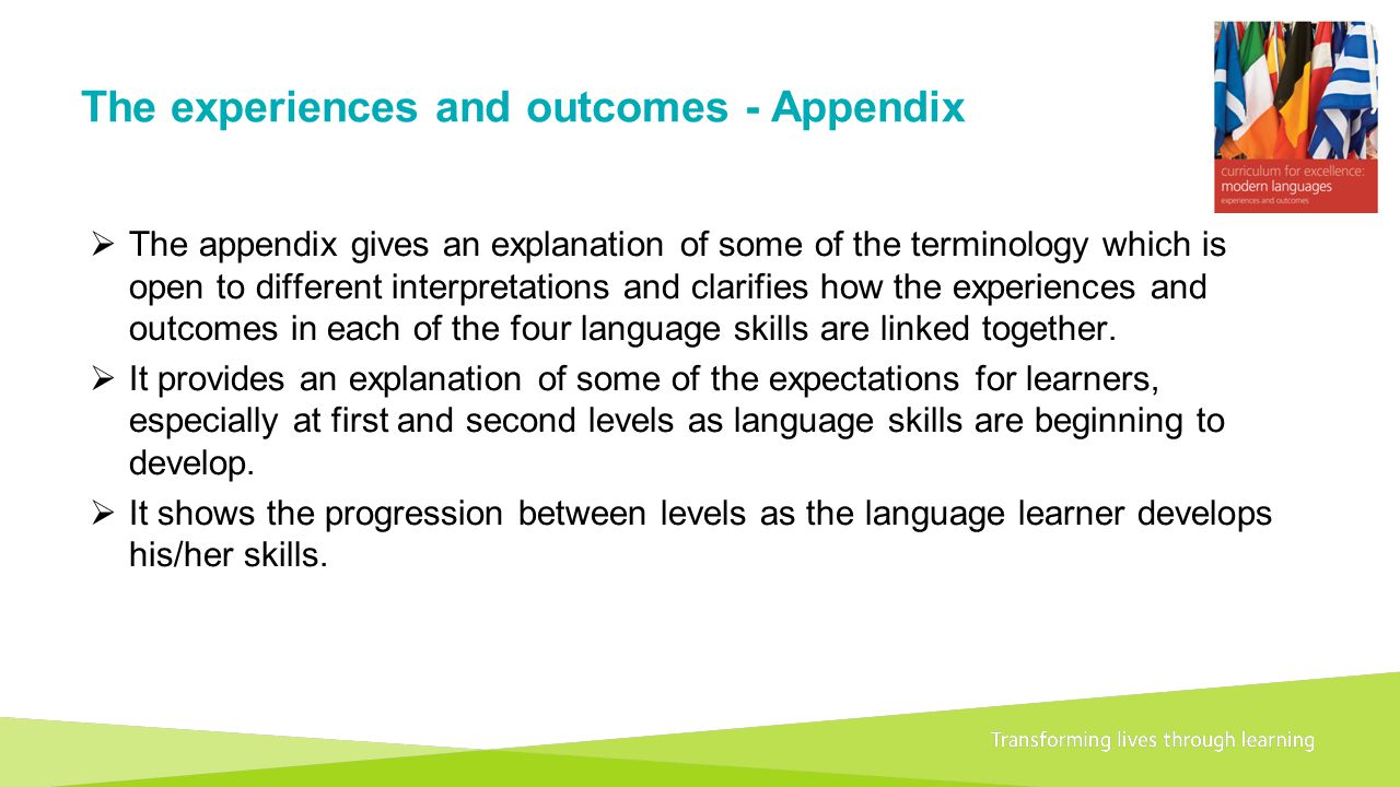 Transforming lives through learningDocument title A 1+2 approach to language learning Framework for primary schools – Guidance for P1 The experiences and outcomes - Appendix  The appendix gives an explanation of some of the terminology which is open to different interpretations and clarifies how the experiences and outcomes in each of the four language skills are linked together.