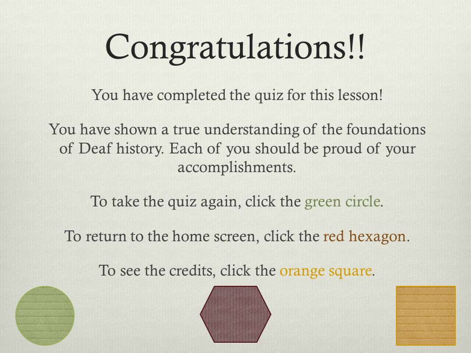 Congratulations!. You have completed the quiz for this lesson.