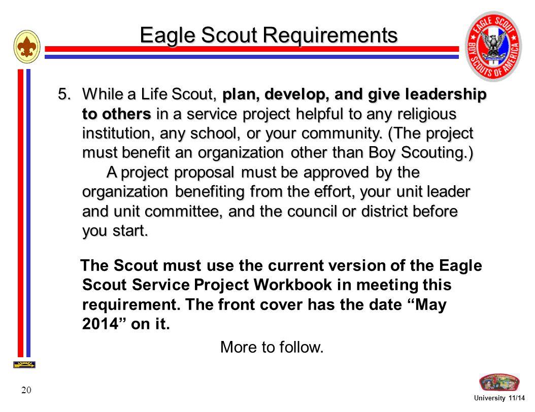 Workbooks eagle scout service project workbook : University 11/14 1 Earning Eagle Rank Troop Leadership Focus ...