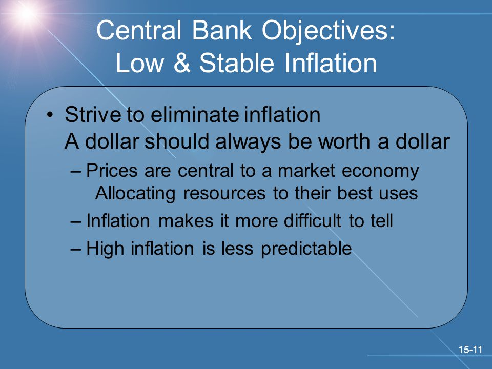 15-11 Central Bank Objectives: Low & Stable Inflation Strive to eliminate inflation A dollar should always be worth a dollar –Prices are central to a market economy Allocating resources to their best uses –Inflation makes it more difficult to tell –High inflation is less predictable