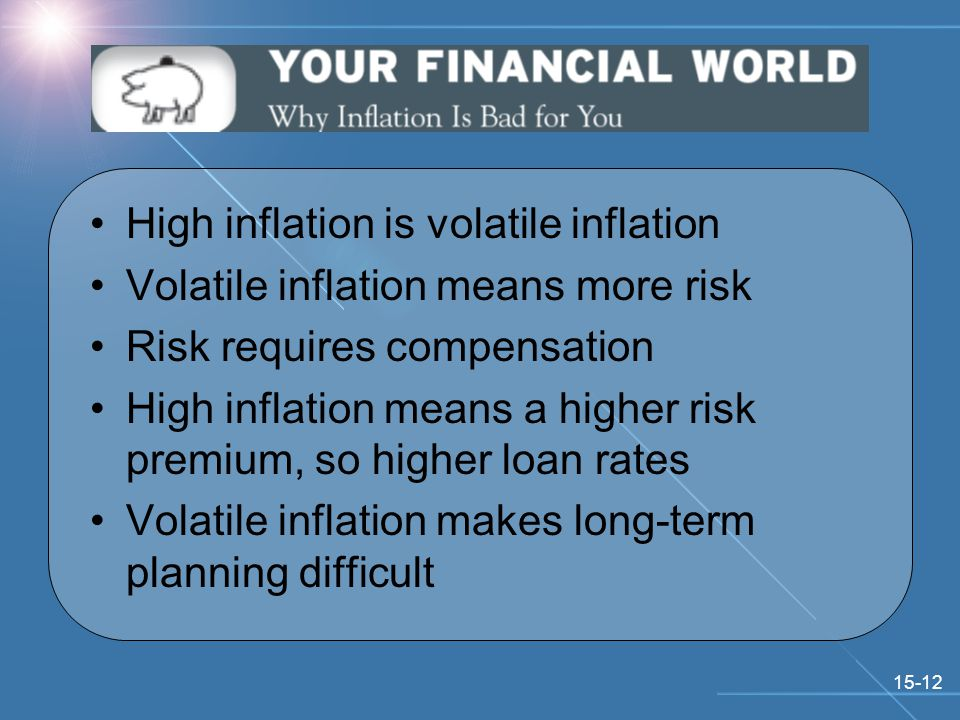 15-12 High inflation is volatile inflation Volatile inflation means more risk Risk requires compensation High inflation means a higher risk premium, so higher loan rates Volatile inflation makes long-term planning difficult