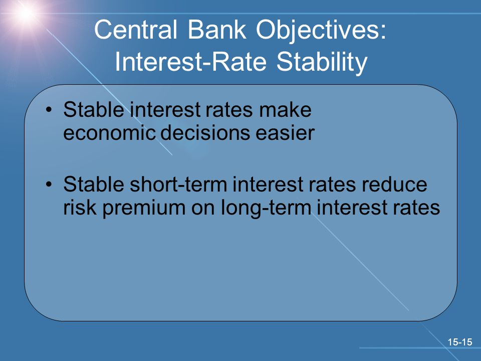 15-15 Central Bank Objectives: Interest-Rate Stability Stable interest rates make economic decisions easier Stable short-term interest rates reduce risk premium on long-term interest rates