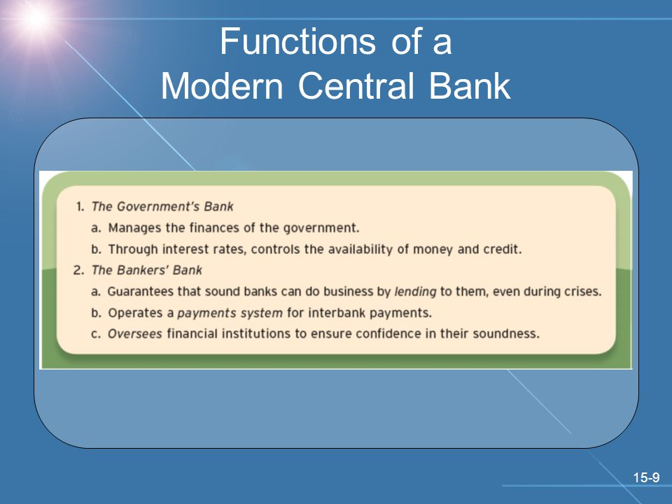 15-9 Functions of a Modern Central Bank