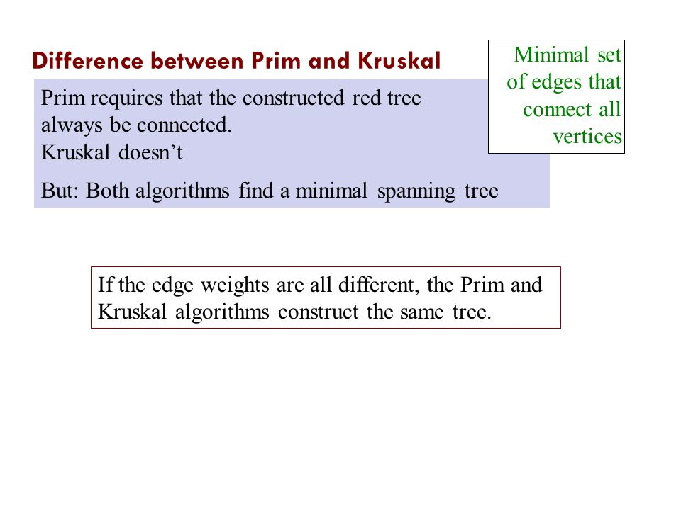 Difference between Prim and Kruskal Prim requires that the constructed red tree always be connected.
