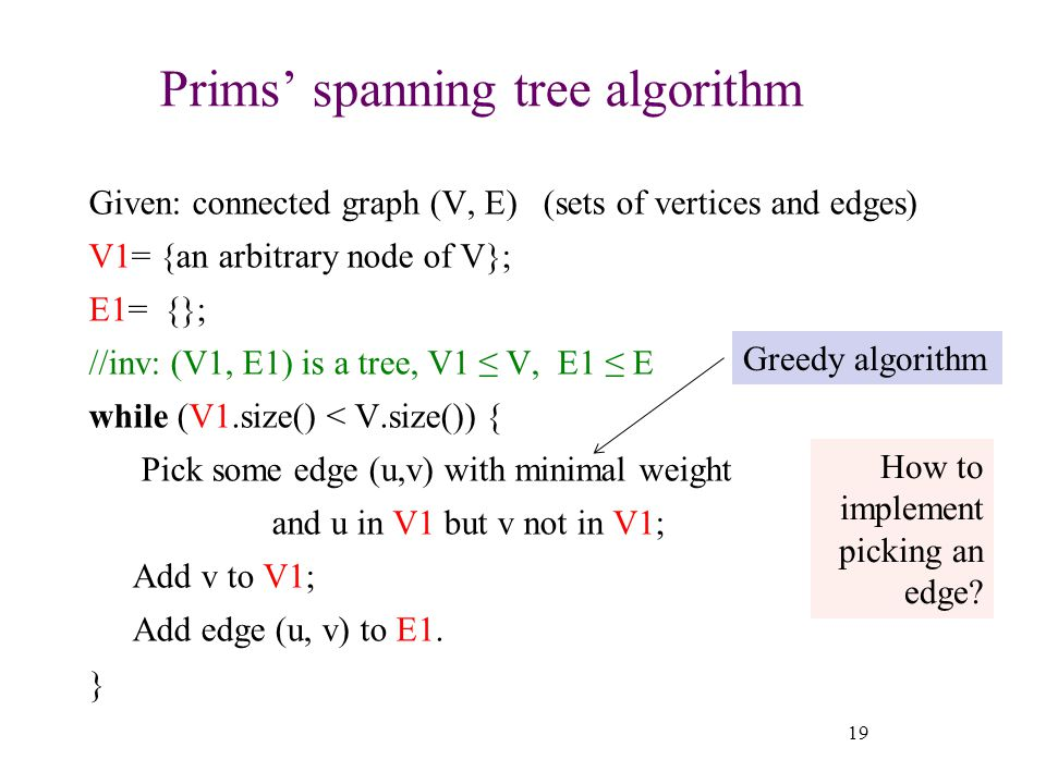 Prims' spanning tree algorithm Given: connected graph (V, E) (sets of vertices and edges) V1= {an arbitrary node of V}; E1= {}; //inv: (V1, E1) is a tree, V1 ≤ V, E1 ≤ E while (V1.size() < V.size()) { Pick some edge (u,v) with minimal weight and u in V1 but v not in V1; Add v to V1; Add edge (u, v) to E1.