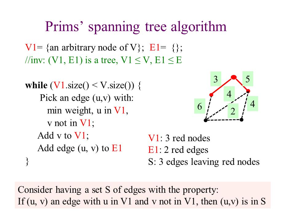 Prims' spanning tree algorithm V1= {an arbitrary node of V}; E1= {}; //inv: (V1, E1) is a tree, V1 ≤ V, E1 ≤ E while (V1.size() < V.size()) { Pick an edge (u,v) with: min weight, u in V1, v not in V1; Add v to V1; Add edge (u, v) to E1 } 21 Consider having a set S of edges with the property: If (u, v) an edge with u in V1 and v not in V1, then (u,v) is in S V1: 3 red nodes E1: 2 red edges S: 3 edges leaving red nodes
