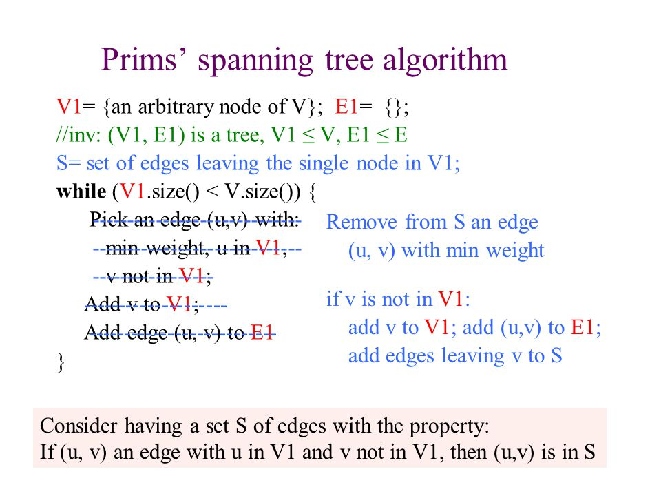 Prims' spanning tree algorithm V1= {an arbitrary node of V}; E1= {}; //inv: (V1, E1) is a tree, V1 ≤ V, E1 ≤ E S= set of edges leaving the single node in V1; while (V1.size() < V.size()) { Pick an edge (u,v) with: min weight, u in V1, v not in V1; Add v to V1; Add edge (u, v) to E1 } 23 Consider having a set S of edges with the property: If (u, v) an edge with u in V1 and v not in V1, then (u,v) is in S Remove from S an edge (u, v) with min weight if v is not in V1: add v to V1; add (u,v) to E1; add edges leaving v to S