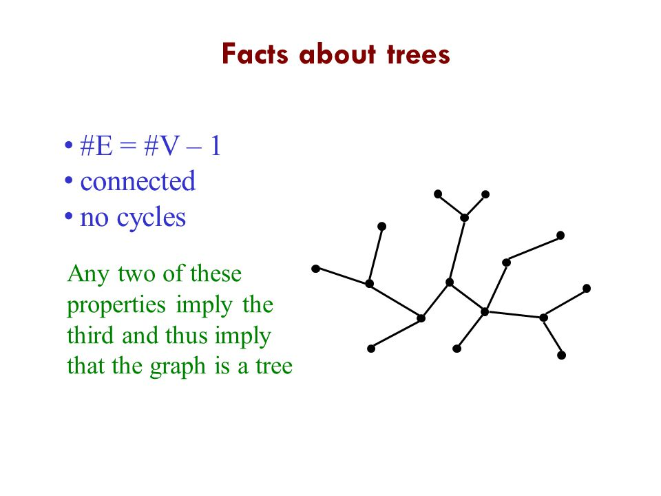 Facts about trees #E = #V – 1 connected no cycles Any two of these properties imply the third and thus imply that the graph is a tree 3